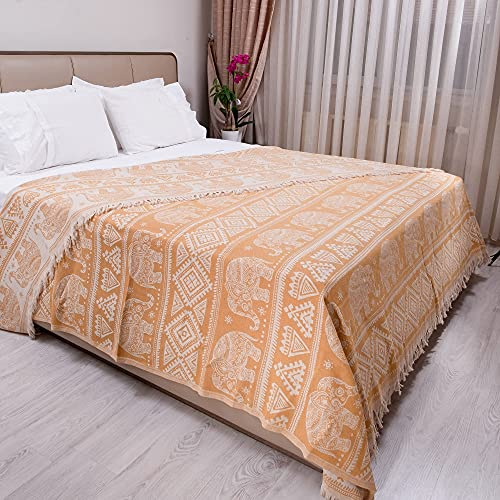 Milam London 100prozent Baumwolle Bohemian King Size Tagesdecke Bettüberwurf mit Quasten Wendedecke Boho Decke Elefant Muster 220x240cm senf