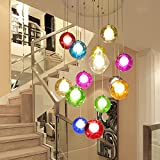 YSDS-JZ Escalera De Arañas De Cristal Bola De Múltiples Luces Moderna Sala De Estar Creativa Colgante De Luz Villa Lámpara De Techo Dúplex Apartamento Escaleras De Caracol Larga Araña, 40 * 200 Cm