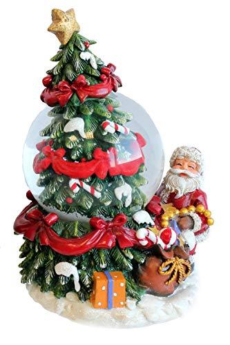 Creation Gross glitzernde Schneekugel, Weihnachtsmann mit geschmücktem Weihnachtsbaum und Geschenken H.: 13cm