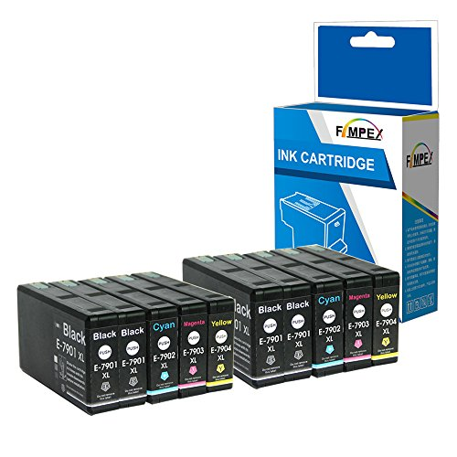 Fimpex Compatibile Inchiostro Cartuccia Sostituzione Per Epson WorkForce Pro WF-4630DWF WF-4640DTWF WF-5110DW WF-5190DW WF-5620DWF WF-5690DWF 79XL (Nero/Ciano/Magenta/Giallo, 10-Pack)