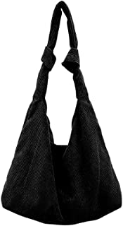 Ulisty Damen Groß Cord Tasche Mode Stofftasche Schultasche Beiläufig Schultertasche Handtasche schwarz