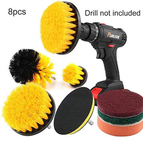Yimorex 8 pcs Bohrmaschine Bürstenaufsatz Bohrbürsten Befestigung Scrubber Reinigung Kit für Küche Badezimmer Oberflächen Fliesen Duschen Tile Teppich Bodenbelag