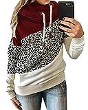 Yanekop Womens Leopard Color Block Sweatshirt Turtleneck Pullover Drawstring Hoodie (Burgundy,XL)