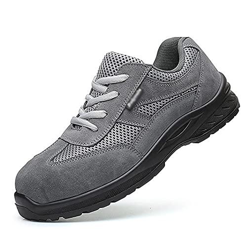 Zapatos de Trabajo Cuero De Gamuza Ligero/De Malla Entrenadores De Seguridad Bajos, Zapatos De Trabajo De Desodorantes Transpirables para Hombres, Zapatos Protectores Industriales De Poliuretano Ant