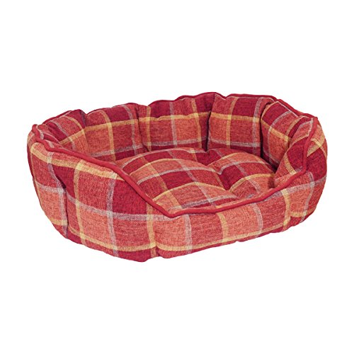 Rosewood 04428 Ovales Hundebett aus kuschelig weichem Material, rot