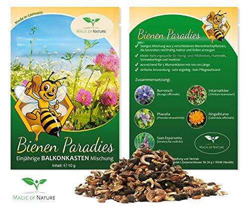 Bienen Paradies - Balkonkasten Samen Mischung (einjährig) - Bienenweide für den Stadtgarten - Bienenfreundliche Pflanzen für Balkon und Terrasse