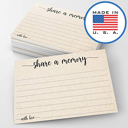 "321Done Share a Memory Card (50 Cards) 4"" x 6"" - for Celebration of Life Birthday Anniversary Memorial Funeral Graduation Bridal Shower Game - Made in USA - Kraft Tan"