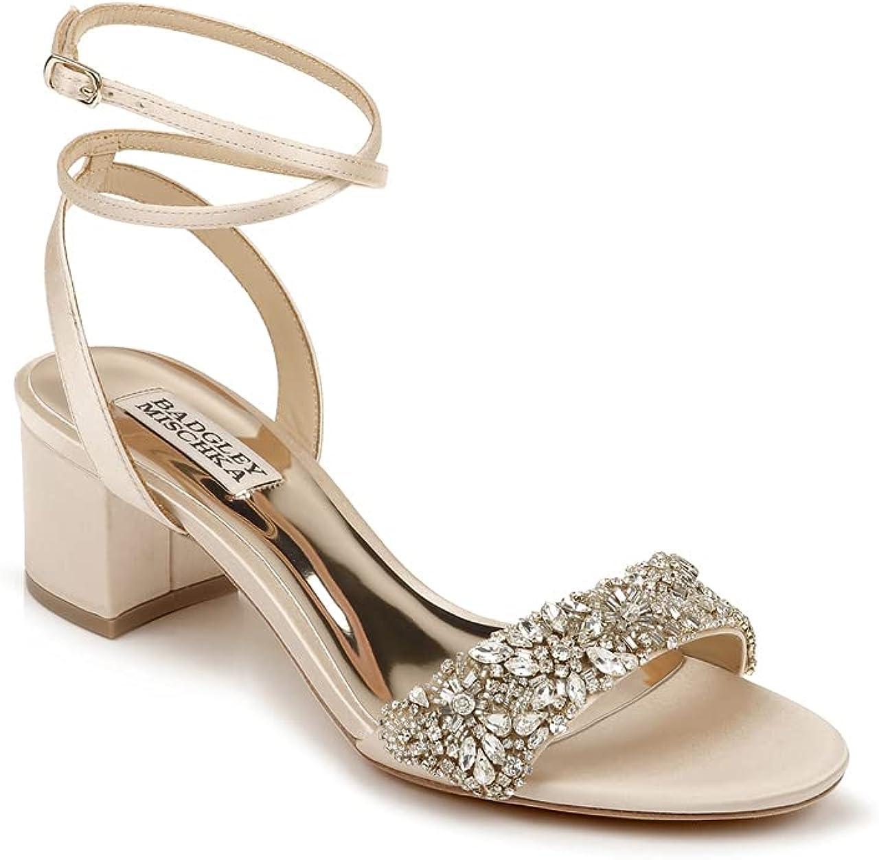 Badgley Mischka Women's Ankle Strap, Block Heel Sandal Heeled