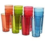 Cafe Break-Resistant Plastic 20oz Restaurant-Quality Beverage Tumblers | Set of 16 in 4 Assorted Colors.