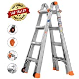 TACKLIFE Multi-Use Ladder, 17 Feet Aluminum Telescoping Ladder with 2 Flexible Wheels, Safe...