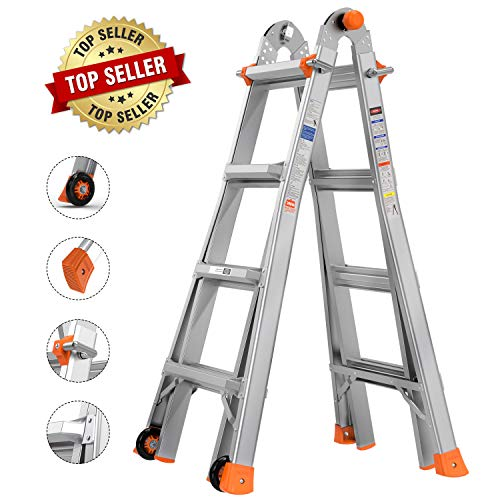 TACKLIFE Multi-Use Ladder, 17 Feet Aluminum Telescoping Ladder with 2 Flexible Wheels, Safe Protective Switch, Non-Slip Rubber Feet, 300lb Capacity Extension Ladder