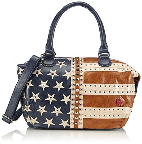 poodlebag Funky Designer Handtasche modische US Flag Damen Schultertasche 42x16x29 cm Blau (Blue) (B x H x T) 3FL0115THUSB