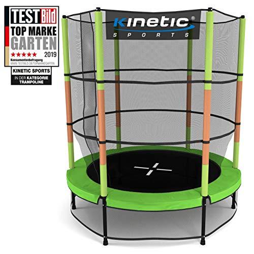 Kinetic Sports Trampolin Kinder Indoortrampolin Jumper 140 cm Randabdeckung Stangen gepolstert, Gummiseil-Federung Sicherheitsnetz Grün