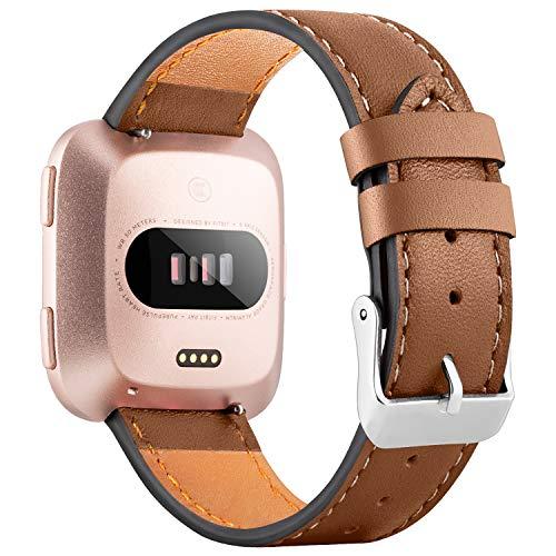 WASPO für Fitbit Versa Armband, Elegantes Echtes Lederarmband mit Schnellverschluss Pin Kompatibel mit Fitbit Versa 2/ Fitbit Versa/Fitbit Versa Lite Edition, Klein Groß Damen Herren (Braun, L)
