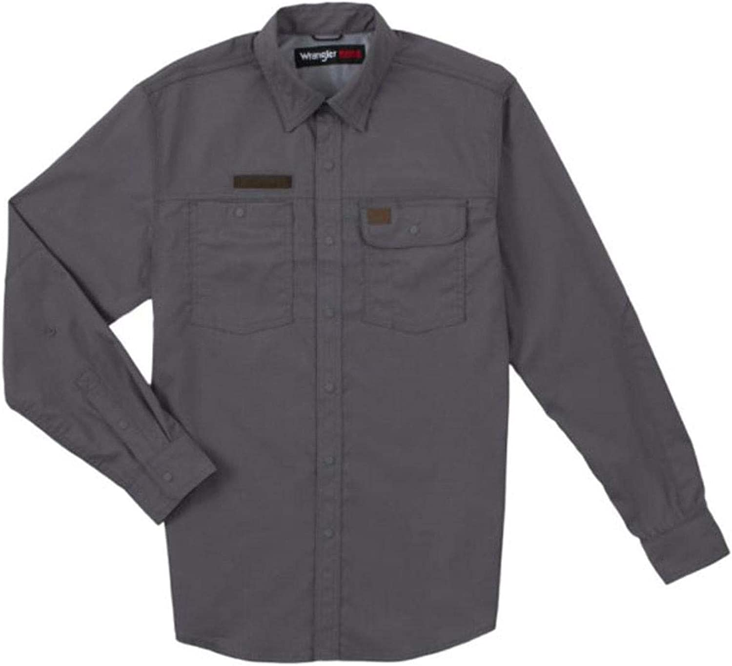 Wrangler Men's Riggs Solid Grey Vented Long Sleeve Button-Down Work Shirt Big