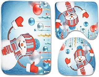 Bathroom Accessory Sets,Bathroom Mats, Toilet Mat Seat Cover, Contour Mat 3 Pack, Christmas Decorations for Bathroom Anti-...