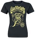 Gas Monkey Garage Logo Mujer Camiseta Negro S, 100% algodón, Regular