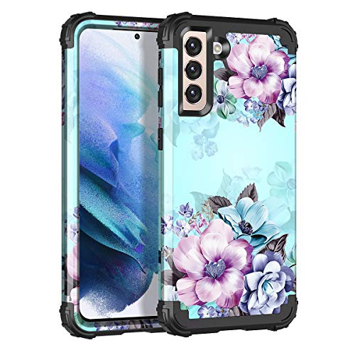 Casetego Compatible with Galaxy S21 5G Case,Floral Three Layer Heavy Duty Sturdy Shockproof Full Body Protective Cover Case for Samsung Galaxy S21 5G 6.2 inch,Blue Flower