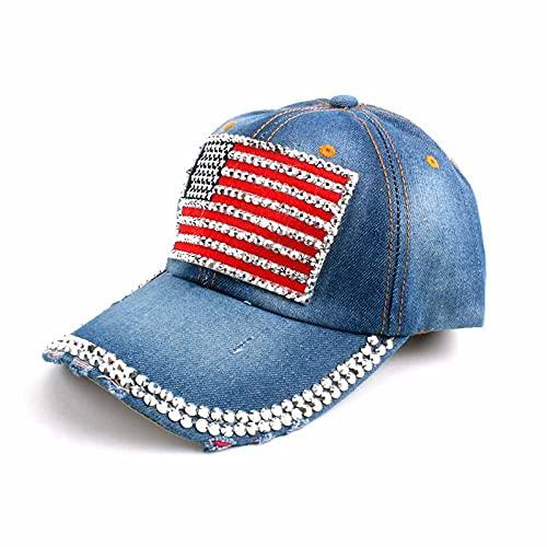LLSB Gorra De Béisbol para Mujer para Hombres, Mujeres, Gorra Snapback, Gorras De Bandera Americana del Ejército Hombres, Gorras De Camionero De Hueso, Gorras De Mezclilla
