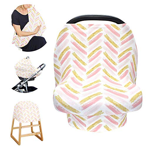 Stretchy Baby Carseat Cover with 4-in-1 Multi-use for Baby Carseat & Nursing/Breastfeeding Infinity Scarf & Stroller & Feeding high Chair Versatile Cover for Baby Girls or Boys -Stripe