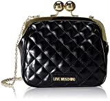Love Moschino Borsa Quilted Nappa PU, Bolsa de mensajero para Mujer, Negro (Nero), 17x19x6 centimeters (W x H x L)