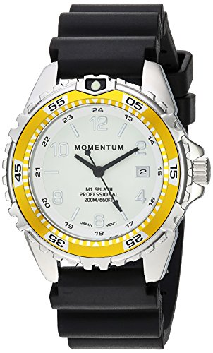 Women's Quartz Watch | M1 Splash by Momentum| Stainless Steel Watches for Women | Dive Watch with Japanese Movement & Analog Display | Water Resistant ladies watch with Date –Lume / Yellow Rubber