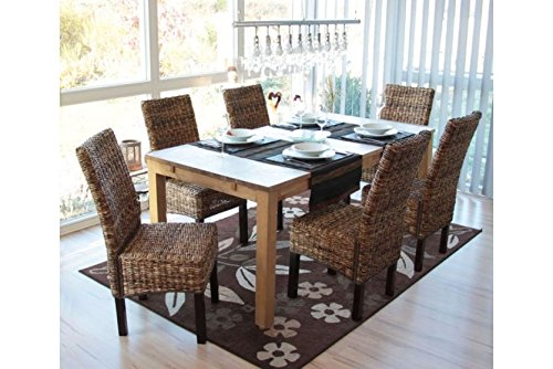 6 x Esszimmerstuhl dunkel ohne Kissen Korbstuhl Stuhl Bananengeflecht Holz neu