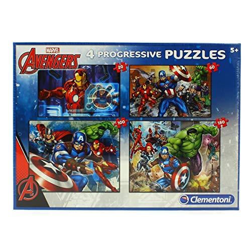 Clementoni- Puzzles 20+60+100+180 Piezas Avengers, Multicolo