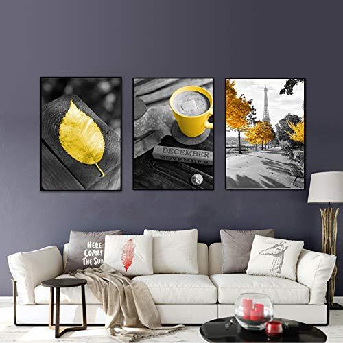 adgkitb canvas Yellow Leaf Poster Nordic Grau Leinwand Malerei Paris Tower Leinwanddrucke Yellow Poster Cappuccino Poster Und Drucke Ungerahmt