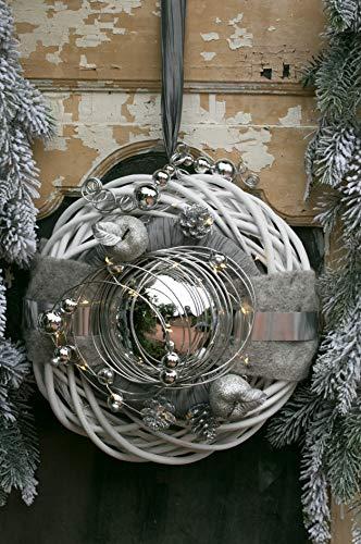 Winterkranz Doppelkranz Wandkranz Nr.28 Türkranz weiß 30 cm wahlweise mit LED-LICHTERKETTE mit Silberkugel weiss silber grau modern Türdeko Winter Weihnachten Türdeko Türdekoration (mit Lichterkette)