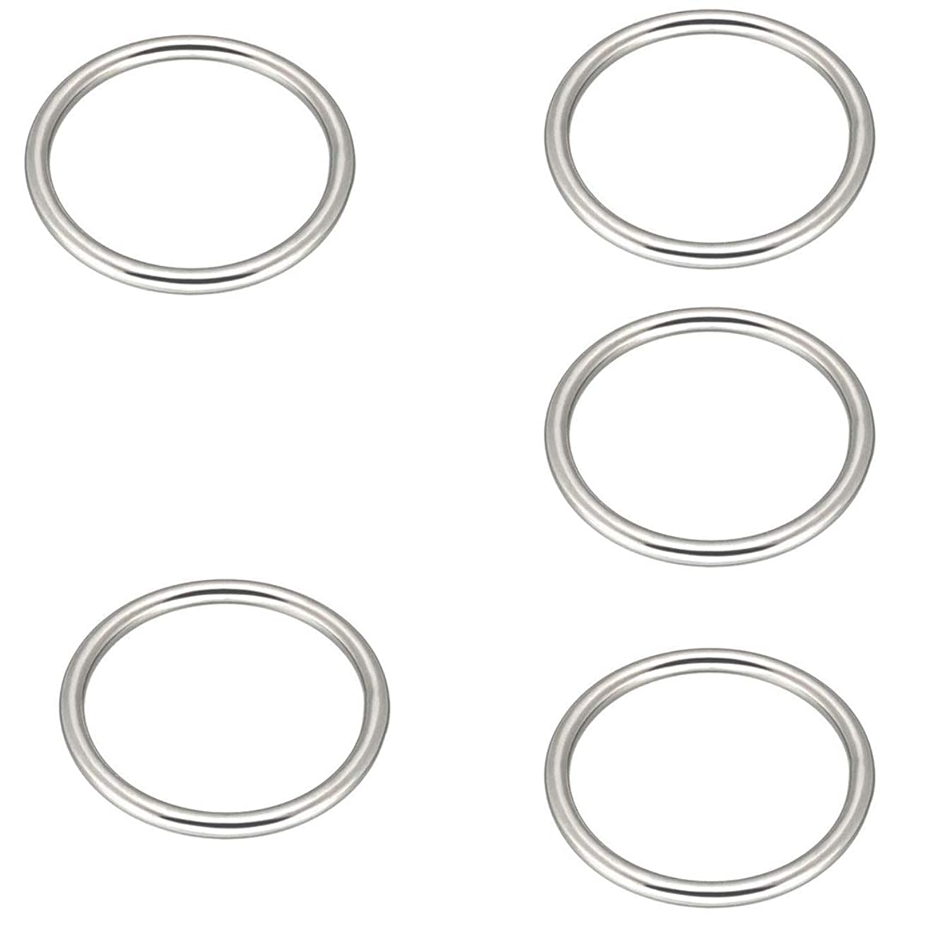 Cyful 304 Stainless Steel O Ring Seamless Welded for Hardware Bags Ring Hand DIY Accessories 5 Pcs (5x45MM)