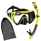 Sportastisch Kit de Snorkelling 'Barracuda' avec tuba sec et masque vue panoramique et verre trempé, Masques de plongée anti-buée Randonnée subaquatique, Garantie jusqu'à 3 ans*