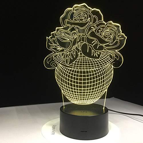 BFMBCHDJ 3D Rose Flower Vase Night Light 7 Cambio de color LED Mesa Lámpara de escritorio Acrílico Flat ABS Base Cargador USB Decoración del hogar