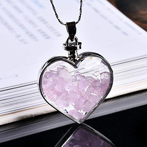 Huien 1 UNIDS Cristal Natural Mineral Adorno Deseando Botella Corazón Colgante Guardián Moda Pareja Colgante Collar Colgante Regalo, Cuarzo Rosa