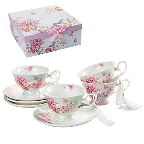 Coffee Tea cup and Saucer set 4 Shabby Chic Vintage porcelain Bird Butterfly Flora Gift Box (1 set of 4) (Kitchen & Home)