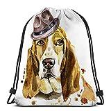 Jiuerlius2 Lightweight Hiking Swimming Beach Drawstring Backpack Bag Watercolor Portrait Basset Hound Brown Hat Cute Dog Graphics