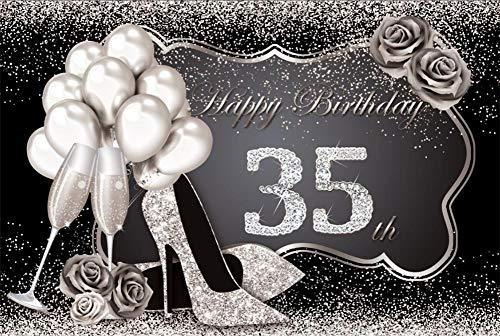 Fondo fotográfico Feliz cumpleaños Fabuloso de Las Mujeres 30 35 40 50 60 Fiesta Tacones Altos Globo Dorado Fondo fotográfico Rosa A8 2,1x1,5 m