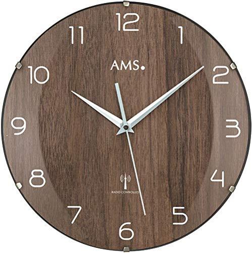 AMS 5558 Relojes Radiocontrolados Relojes de Pared Clásicos Nogal