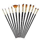 12 Pièces Pinceaux Peinture Acrylique, Pinceaux de Peinture Sets en Nylon pour Brosses à l'huile, Gouache, Aquarelle, Acrylique(Noir)