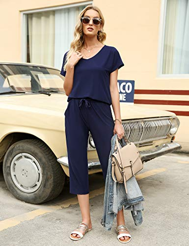 Irevial Women Casual 2 Piece Loungewear Sets Tracksuits Short Sleeve Sweatshirt V Neck Tops and 3/4 Capri Sweatpants with Pockets Set Navy Blue