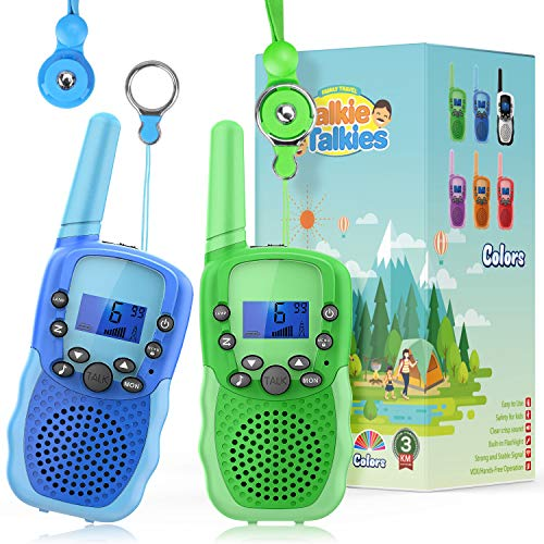Wishouse 388 Real Walkie Talkies for Kids,Two Way Radio Long Range with Detachable Lanyard Flashlight,Girls Boys Outdoor Camping Games Toys Halloween Cosplay Xmas Birthday Gift Present for Children
