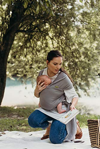 Boba Baby Wrap Carrier, Grey - Premium Newborn, Infant and Toddler Sling, One Size Fits All up to 35 lbs (0-18 Months)