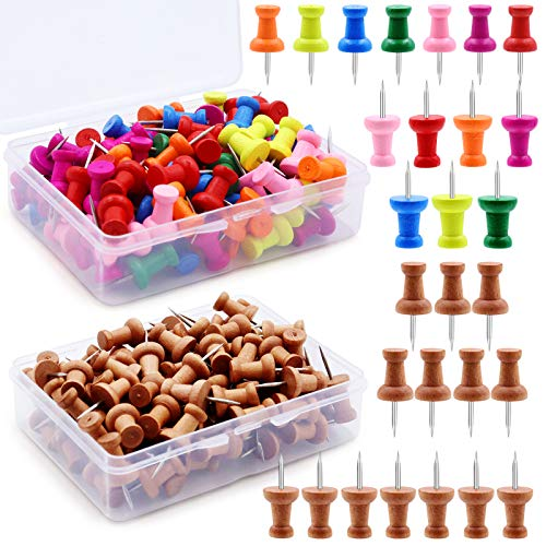 BEIJITA Wooden Push Pins, 100 Pcs Wooden Thumb Tacks and 100 Assorted Color Drawing Pins Decorative for Photos, Maps, Bulletin Boards, Documents Home Office Craft Projects with Box