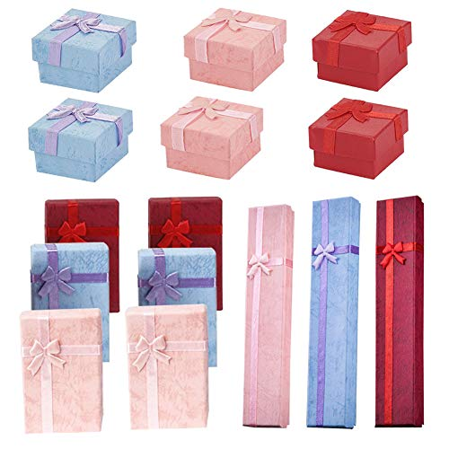 15pcs Gift Box with Lid Square Long Rectangular Paper Jewelry Gifts Boxes with Bow-knot for Jewelry Display-rings, Small Watches, Necklaces, Earrings, Bracelet Gift Packaging Box (mix color)