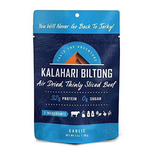 Garlic Kalahari Biltong, Air-Dried Thinly Sliced Beef, 2oz (Pack of 1), Sugar Free, Gluten Free, Keto & Paleo, High Protein Snack