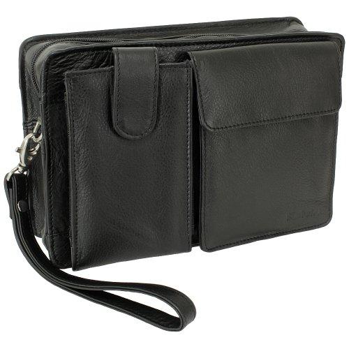 Rimbaldi® Handgelenk- & Schultertasche für Reisen und unterwegs, mit großem Smartphonefach, aus hochwertigem Rind-Nappaleder in Schwarz