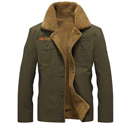 Winter Bomber Jacket Men Air Force Pilot Jacket Warm Male Fur Collar Army Jacket Tactical Mens Jacket Army Green XXL