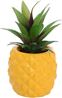 Lvydec Potted Artificial Succulent Decoration, Fake Pineapple Plant for Home Office Tabletop Decoration (Yellow)