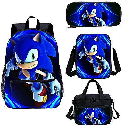 4pcs Ensemble de Sac décole, Jeu 3D Sonic Anime Bookbag, Sac