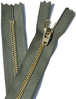 (Length 10cm, 567 - Olive Green) - Brass Pant Zipper - YKK 4.5 Pants with Locking Slide Closed End (Select Length/Colour)...